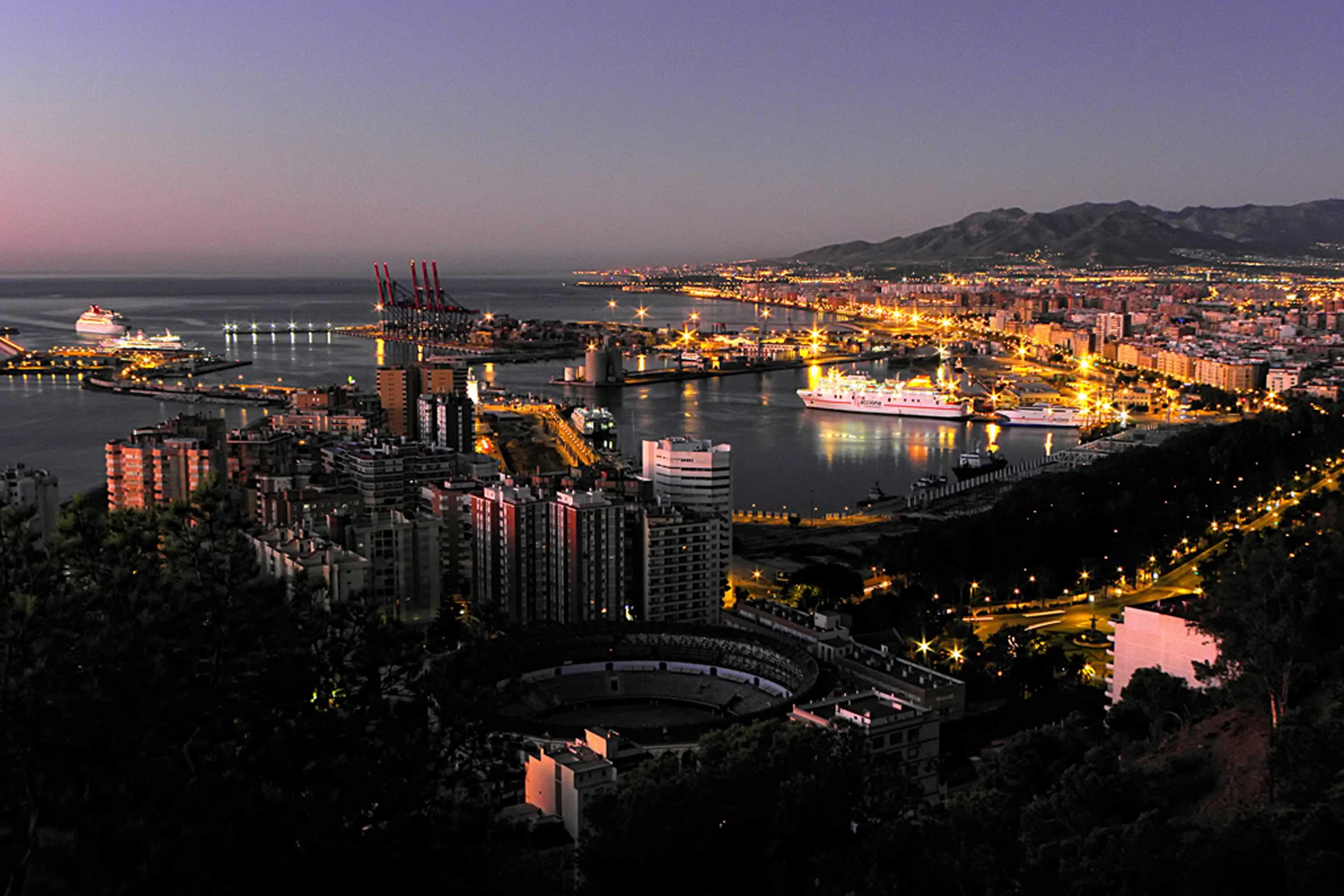 Обои ночь, Malaga city, spain. Города foto 18